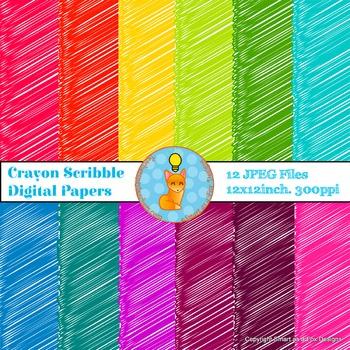 Digital Papers Crayon Scribbles Rainbow