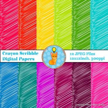 Digital Papers Crayon Scribbles Rainbow