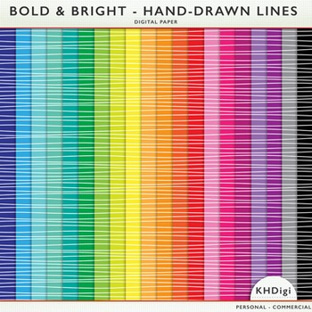 Digital Papers - Hand-Drawn lines - Bold and Bright Collection