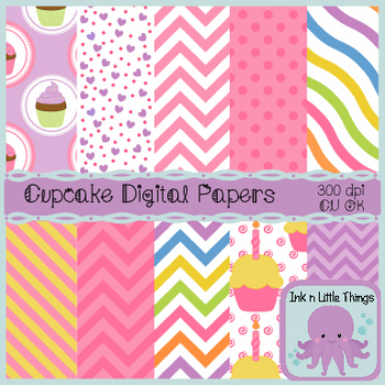 Digital Papers - Cupcake Backgrounds