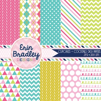 Digital Papers Cupcakes & Cocktails Patterned Background Graphics Commercial Use