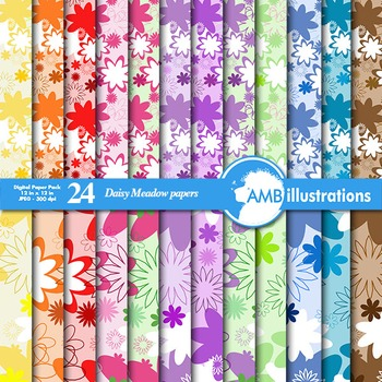 Digital Papers - Daisy floral digital paper and backgrounds, AMB-851
