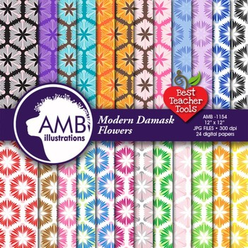 Damask Flowers Digital Papers and backgrounds, {Best Teacher Tools} AMB-1154