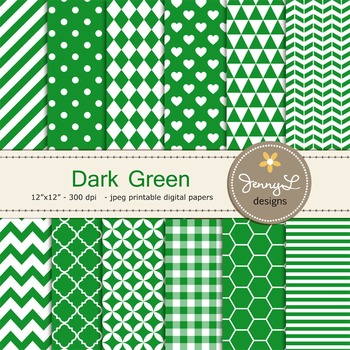 Digital Papers : Dark Green