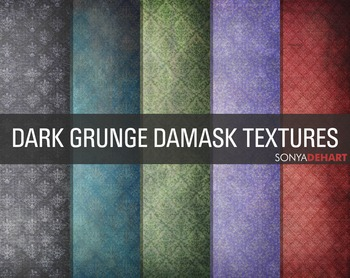 Digital Papers Dark Grunge Damask FREEBIE