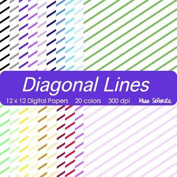 Digital Papers - Diagonal Lines