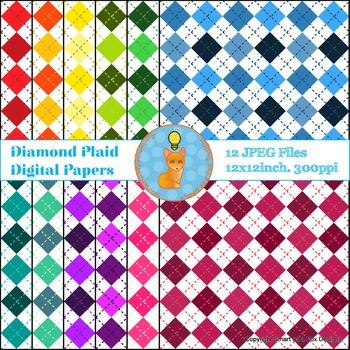 Digital Papers Diamond Plaid Rainbow Colors