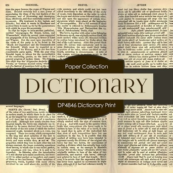 Digital Papers - Dictionary Print (DP4846)