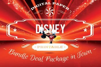 Digital Papers - Disney & Cartoon Patterns Bundle Deal