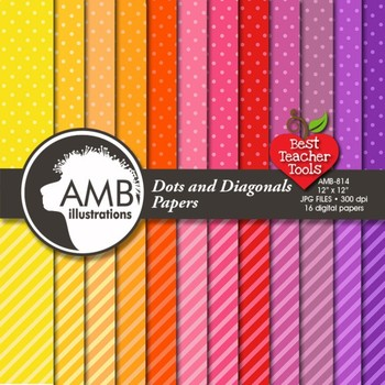 Digital Papers, Dots and Diagonal Stripes Pattern Digital Backgrounds, AMB-814