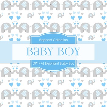 Digital Papers - Elephant Baby Boy Blue And Gray (DP1776)
