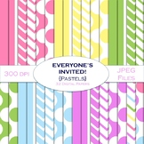 Digital Papers - Everyone's Invited! {Pastel Colors} - Commercial Use OK