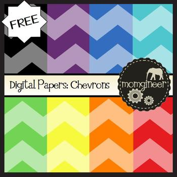 Digital Papers FREEBIE: Chevrons in Bold Colors (Commercial Use Graphics)