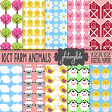 Digital Papers: Farm Animals Scrapbooking Paper