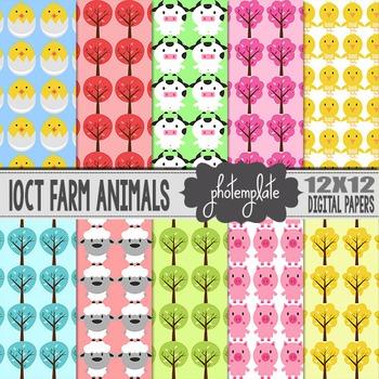 Digital Papers: Farm Animals Scrapbooking Paper