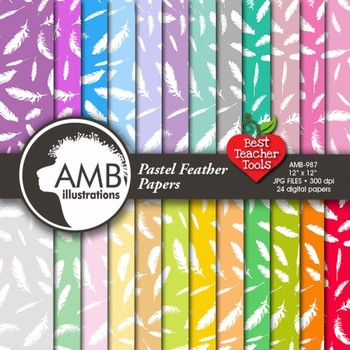 Digital Papers - Feathers, feather digital paper and backgrounds, AMB-987