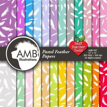 Digital Papers - Feathers, Feather Digital Paper and Backgrounds, AMB-987
