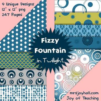 Digital Papers - Fizzy Fountains in Twilight - 247 PNG Images