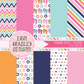 Digital Papers - Flip Flops & Flowers Background Patterns