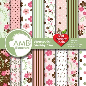 Floral Digital Papers, Art Digital Paper and Backgrounds, AMB-852