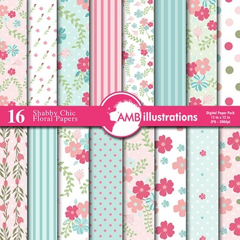 Digital Papers - Floral Shabby Chic digital paper and backgrounds, AMB-853
