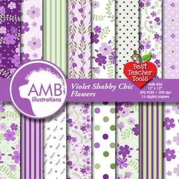 Digital Papers - Floral Shabby Chic digital paper and backgrounds, AMB-856