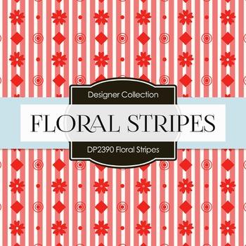 Digital Papers - Floral Stripes (DP2390)