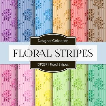 Digital Papers - Floral Stripes (DP2391)