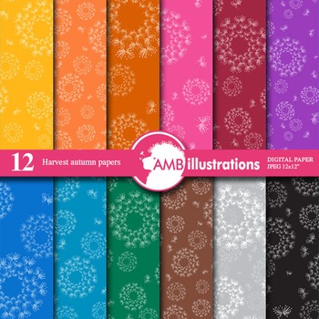 Digital Papers - Flower digital paper and backgrounds, Dandelions AMB-845