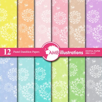 Digital Papers - Flower digital paper and backgrounds, Dandelions AMB-846