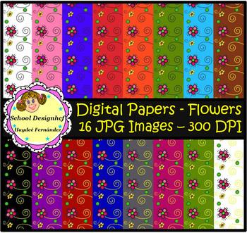 Digital Papers - Flowers (School Designhcf)