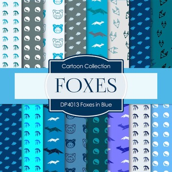Digital Papers - Foxes in Blue (DP4013)