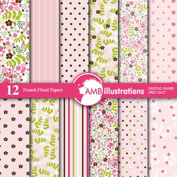 Digital Papers - French Floral digital paper and backgrounds, AMB-873