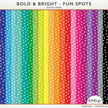 Digital Papers - Fun Spots Polka Dots - Bold and Bright Collection