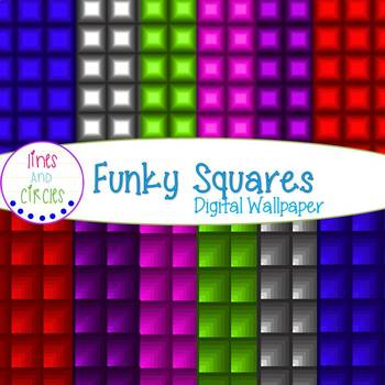Digital Papers- Funky Squares