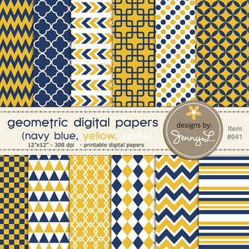 Digital Papers : Geometric Navy Blue and Yellow