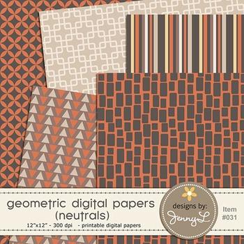 Digital Papers : Geometric Neutral Colors
