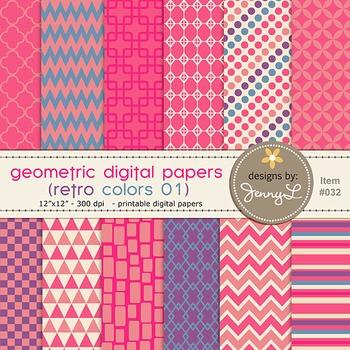 Digital Papers : Geometric Retro Colors