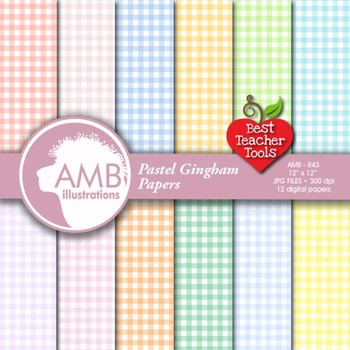 Gingham Digital Papers, Pastel patterned Papers and backgrounds, AMB-843