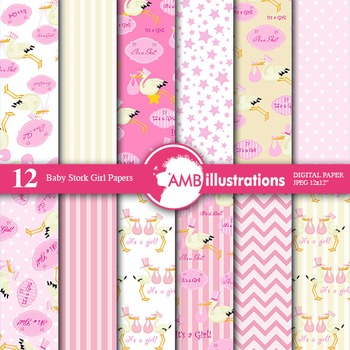 Digital Papers - Girl baby Shower, Stork, digital paper and background - AMB-861