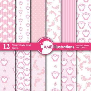 Digital Papers - Girl baby shower digital paper and backgr