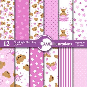 Digital Papers - Girls Nursery Teddybear digital paper and