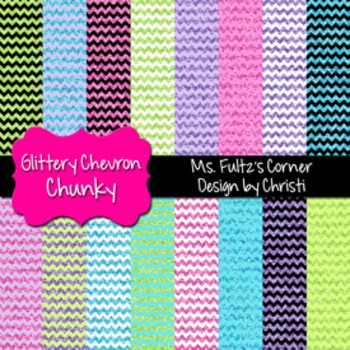 Digital Papers: Glittery Chevrons Chunky