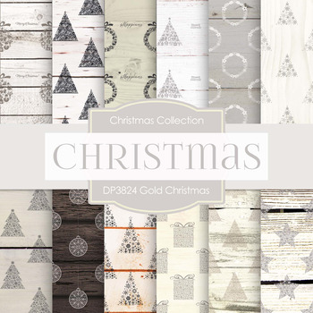 Digital Papers - Gold Christmas (DP3824)