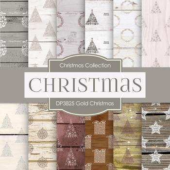 Digital Papers - Gold Christmas (DP3826)