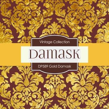 Digital Papers - Gold Damask  (DP589)