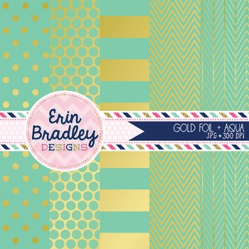 Digital Papers - Gold Foil & Aqua
