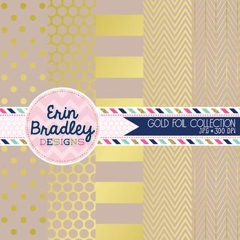 Digital Papers - Gold Foil & Beige