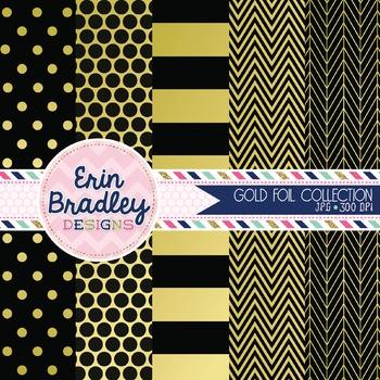 Digital Papers - Gold Foil & Black