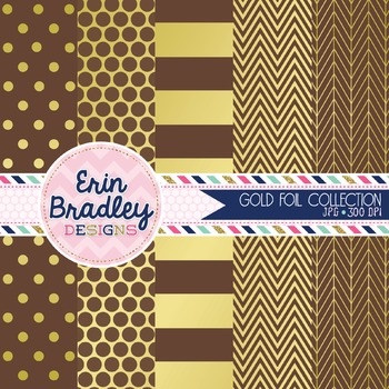Digital Papers - Gold Foil & Brown